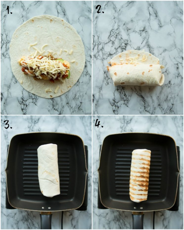 How to cook and fold a burrito - step by step photos