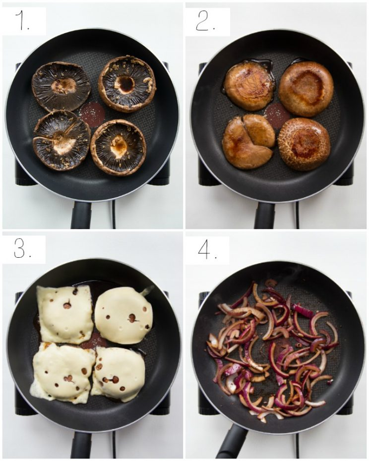 how to pan fry portobello mushrooms - step by step photos