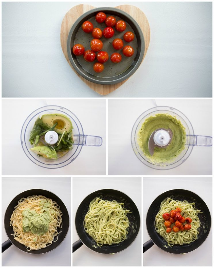 How to make Pasta with a creamy avocado sauce and roasted cherry tomatoes - step by step photos