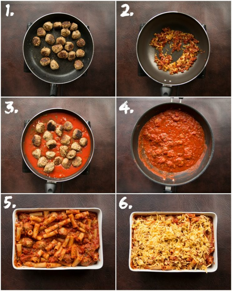 How to make Meatball Pasta Bake - 6 step by step photos