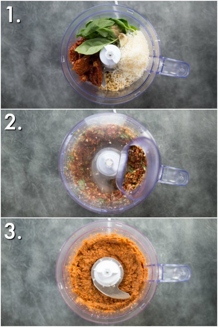 How to make Sun Dried Tomato Pesto - 3 step by step photos in food processor