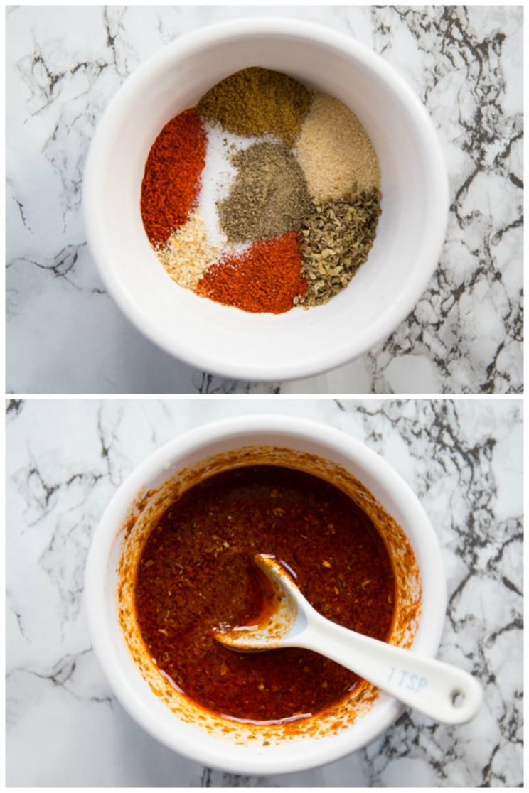 Homemade fajita seasoning in the top photo and homemade fajita marinade in the bottom