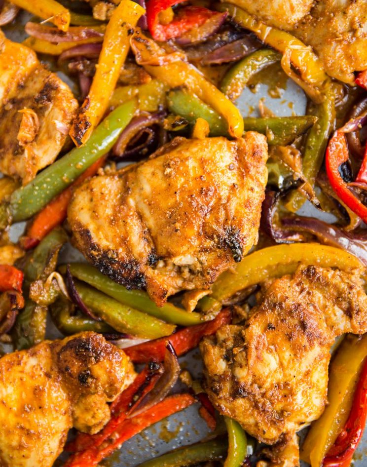 Chicken, peppers and onions fresh out the oven on sheet pan
