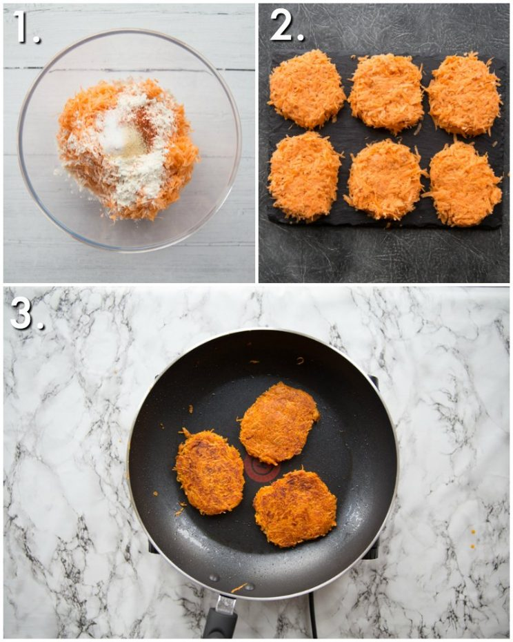 How to cook sweet potato hash browns - 3 step by step photos