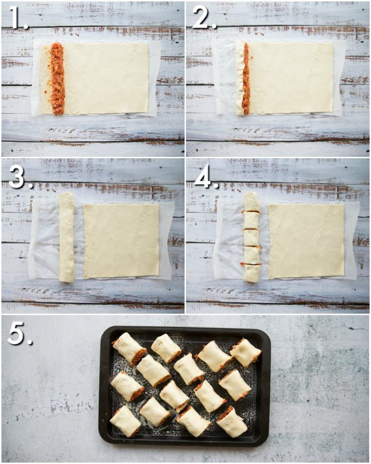 How to make Chorizo Sausage Rolls - 5 step by step photos on rolling sausage rolls