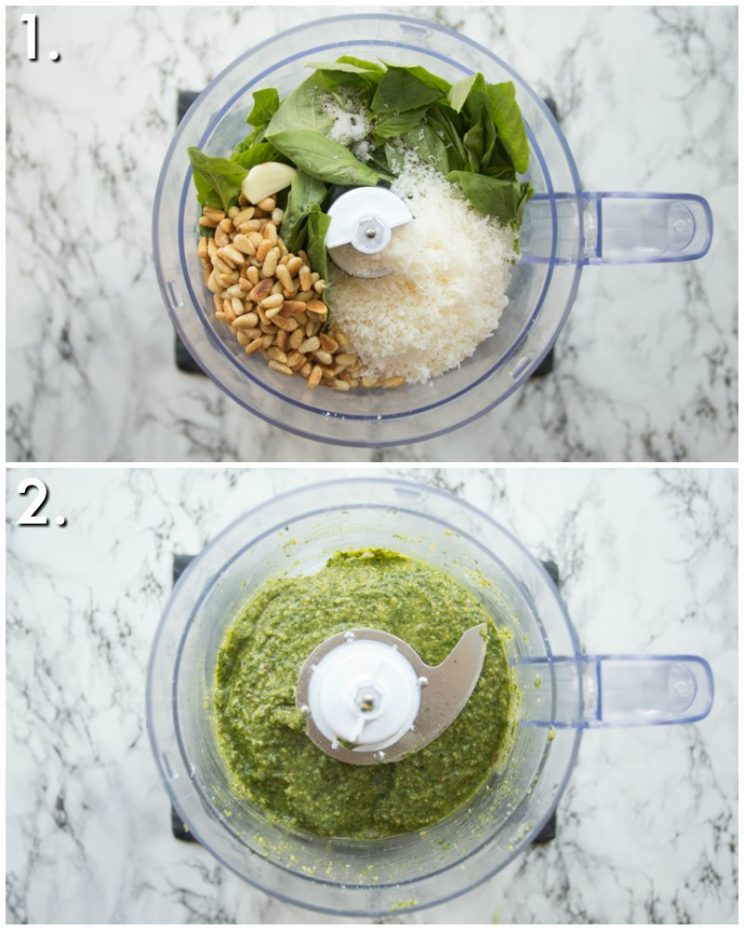 How to make Homemade Pesto in a food processor - 2 step by step photos
