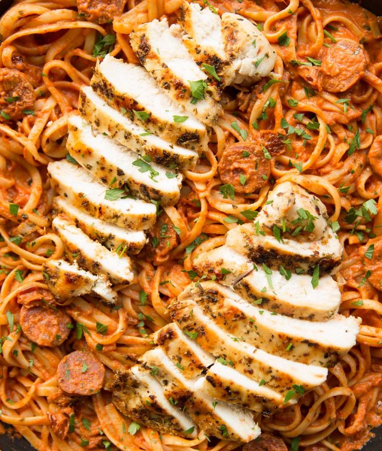 overhead shot of chorizo pasta and sliced grilled chicken on top in pan