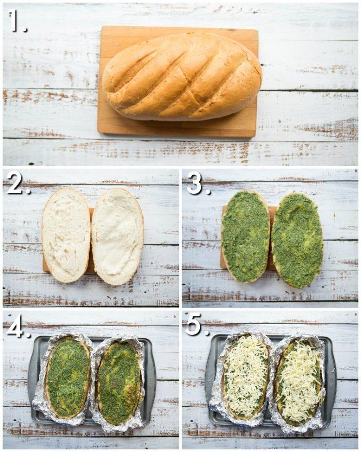How to make cheesy pesto garlic bread - 5 step by step photos