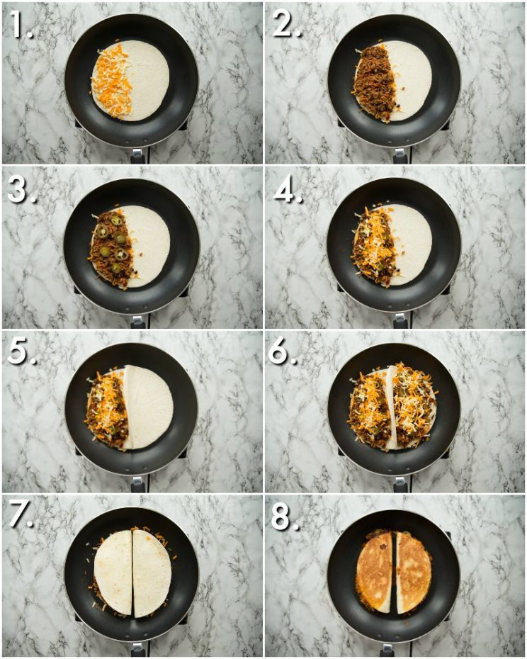 how to pan fry ground beef quesadillas - 8 step by step photos
