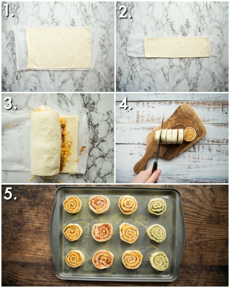 How to make puff pastry pinwheels - 5 step by step photos