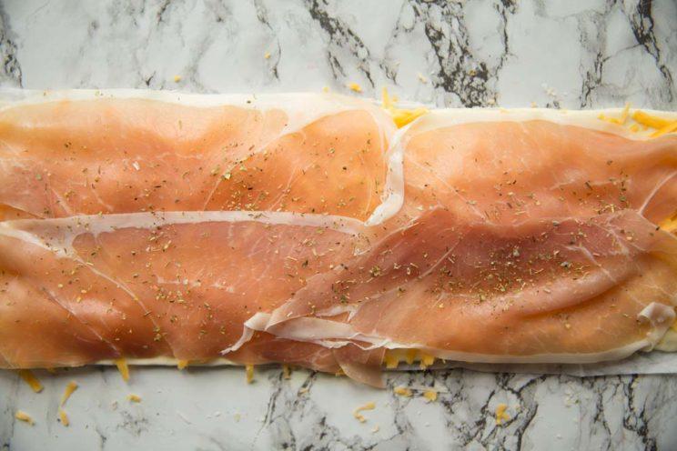 overhead shot of Cheese Prosciutto pinwheel - pre oven