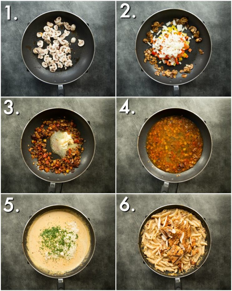 How to make creamy cajun chicken pasta - 6 step by step photos