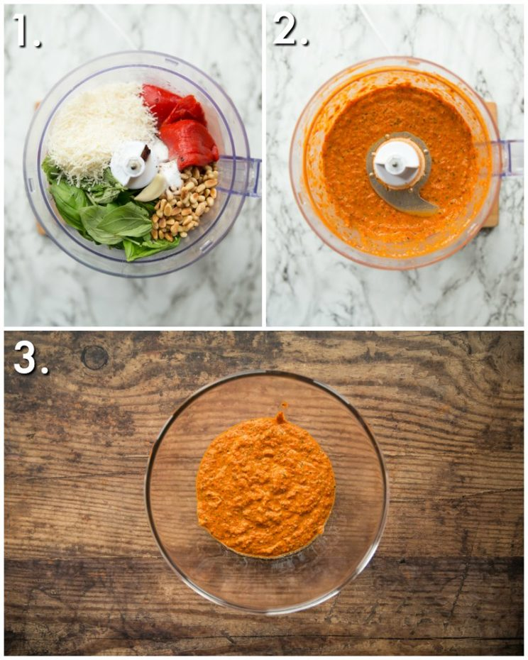 How to make Roasted Red Pepper Pesto Pasta - 3 step by step photos