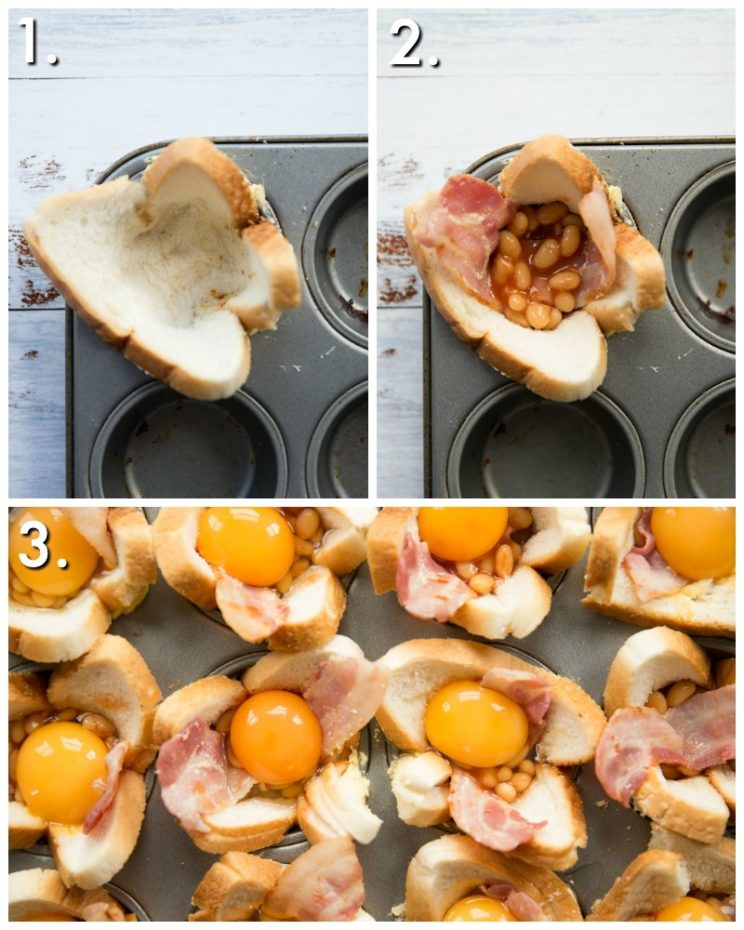 How to make toast cups - 3 step by step photos