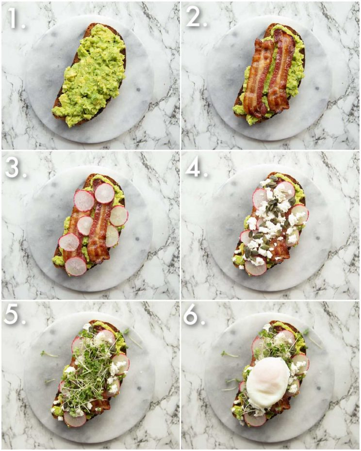 6 step by step photos showing how to make smashed avocado on toast