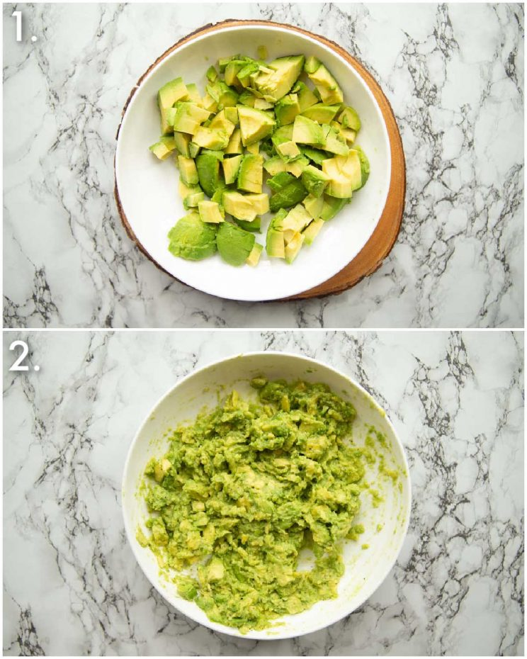 2 step by step photos showing how to smash avocado