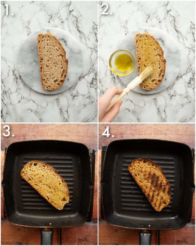4 step by step photos showing how to toast sourdough