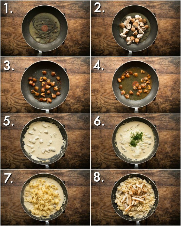 How to make chicken and mushroom pasta - 8 step by step photos