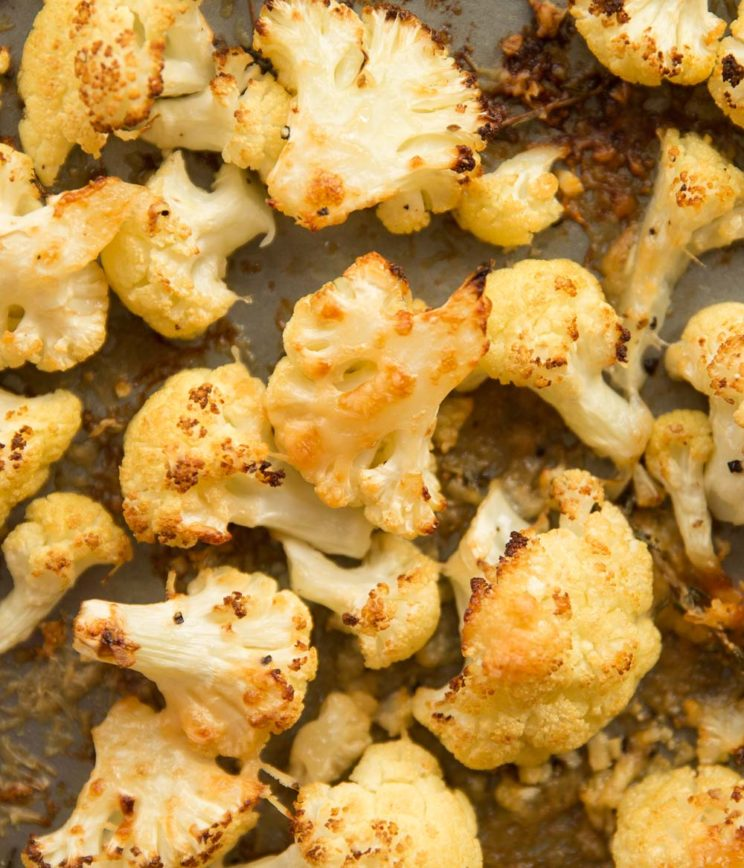 overhead shot of roasted cauliflower fresh out the oven