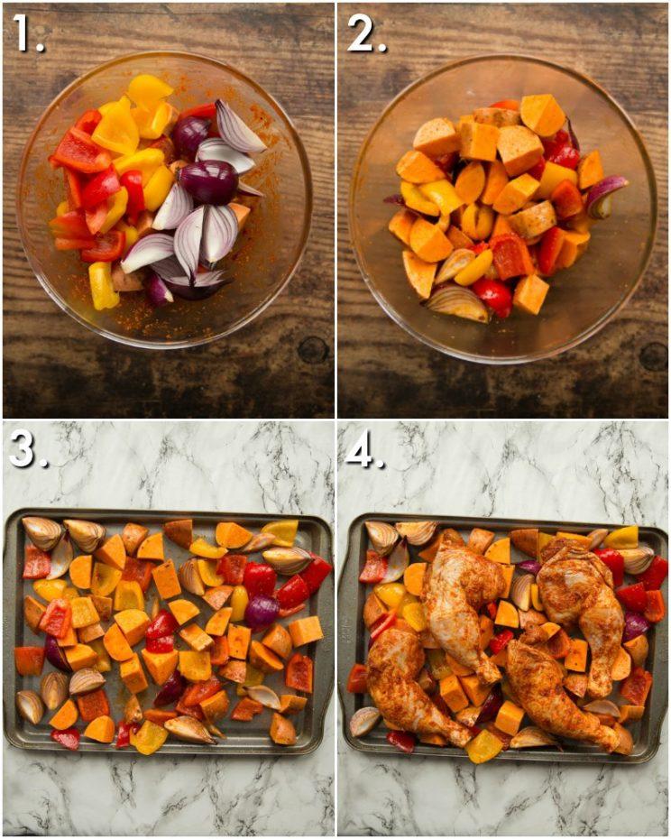 How to make a Chicken Leg tray bake - 4 step by step photos