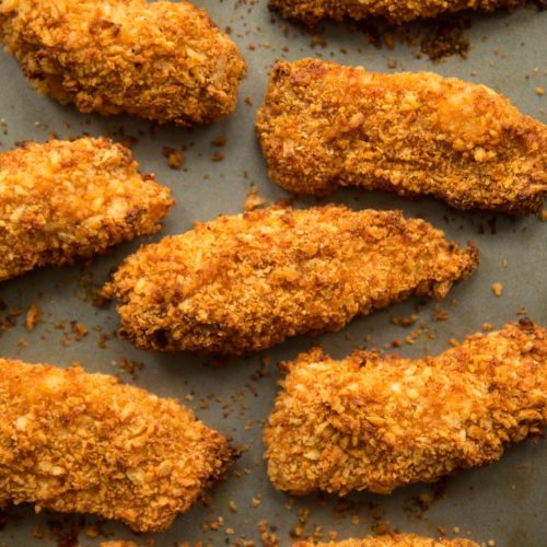 overhead shot of chicken tenders straight out the oven