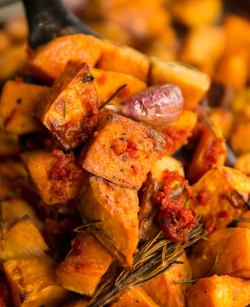 Garlic Rosemary Roasted Sweet Potatoes With Chorizo