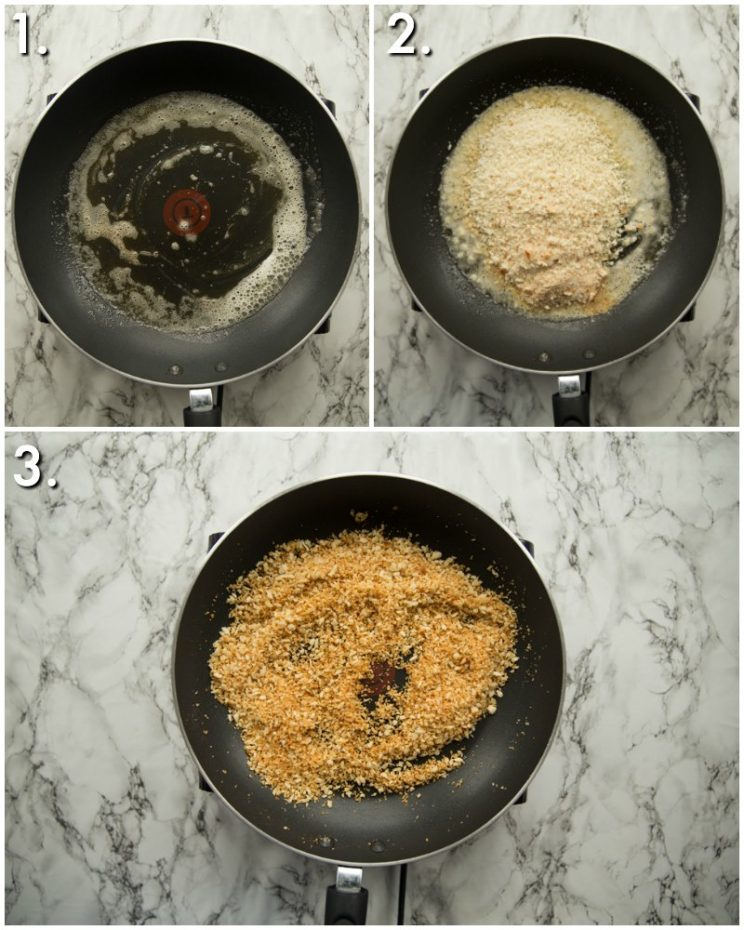 how to make buttered panko breadcrumbs - 3 step by step photos