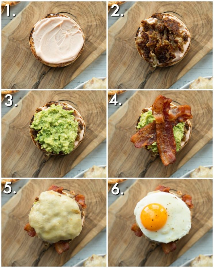 How to make a breakfast burger - 6 step by step photos