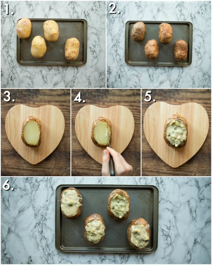 How to make broccoli baked potatoes - 6 step by step photos