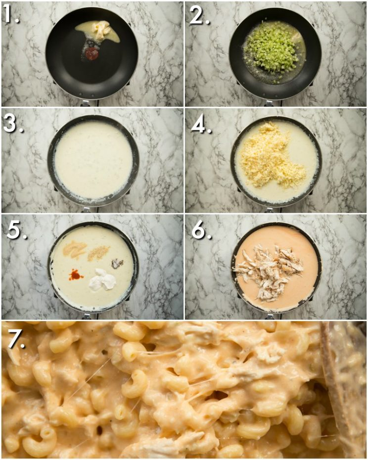 How to make buffalo chicken mac and cheese - 7 step by step photos