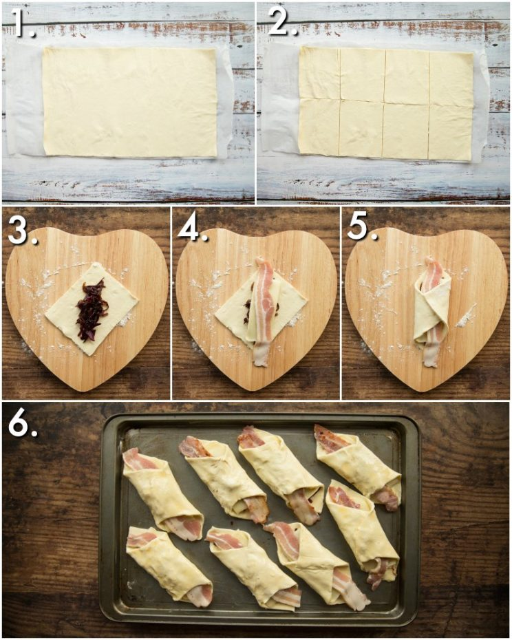 How to make cheese and bacon turnovers - 6 step by step photos
