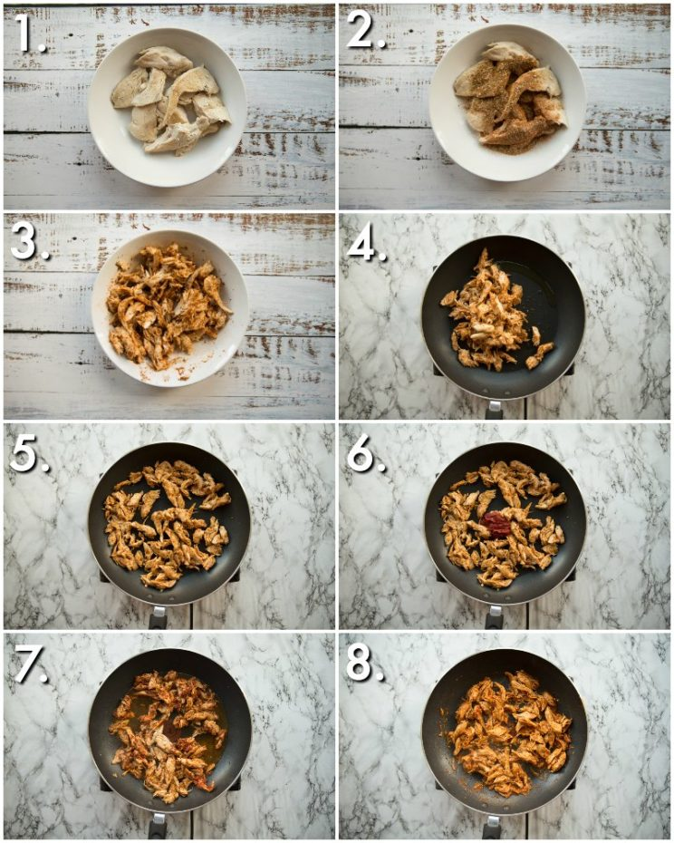 How to make leftover turkey tacos - 8 step by step photos