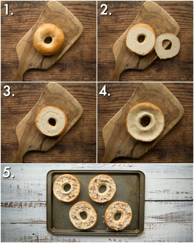 How to make quiche bagels - 5 step by step photos
