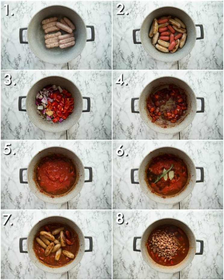 how to make sausage casserole on the hob - 8 step by step photos
