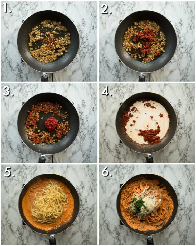 How to make spicy chicken pasta - 6 step by step photos