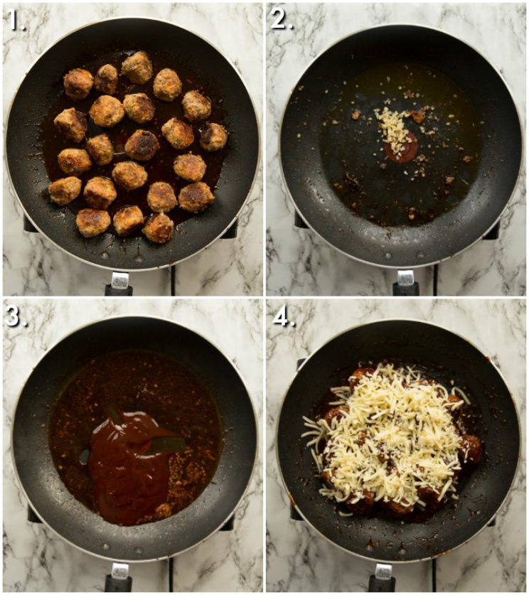 How to pan fry bbq meatballs - 4 step by step photos