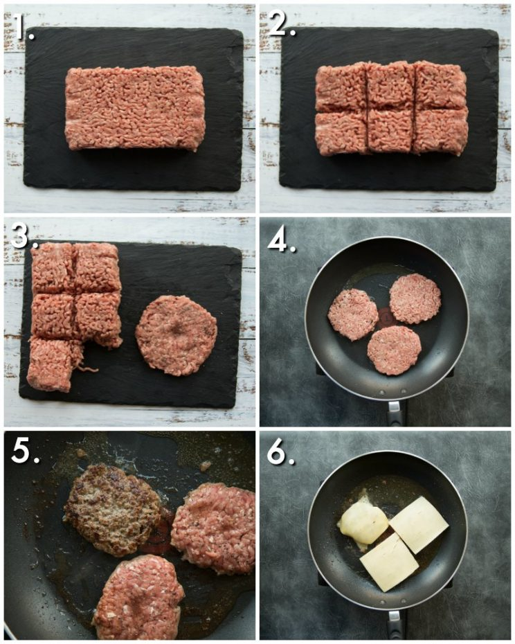How to pan fry burgers - 6 step by step photos