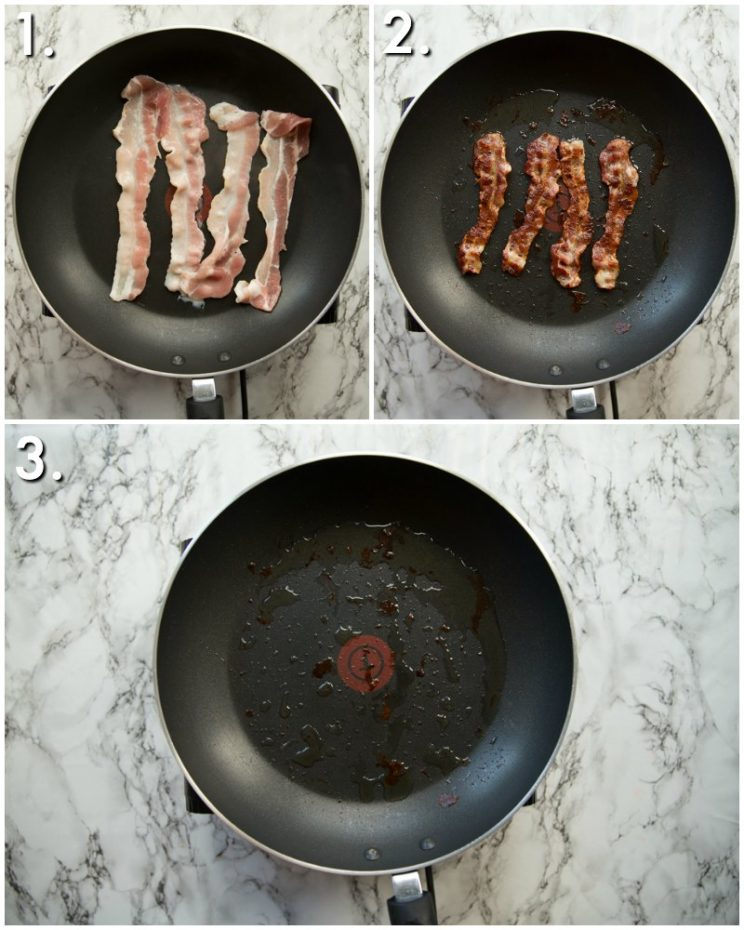 how to pan fry bacon - 3 step by step photod