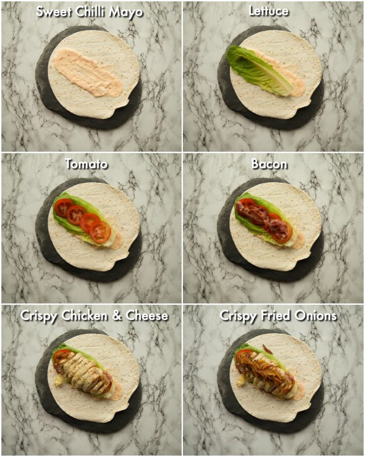 How to make crispy chicken wraps - ingredient shots