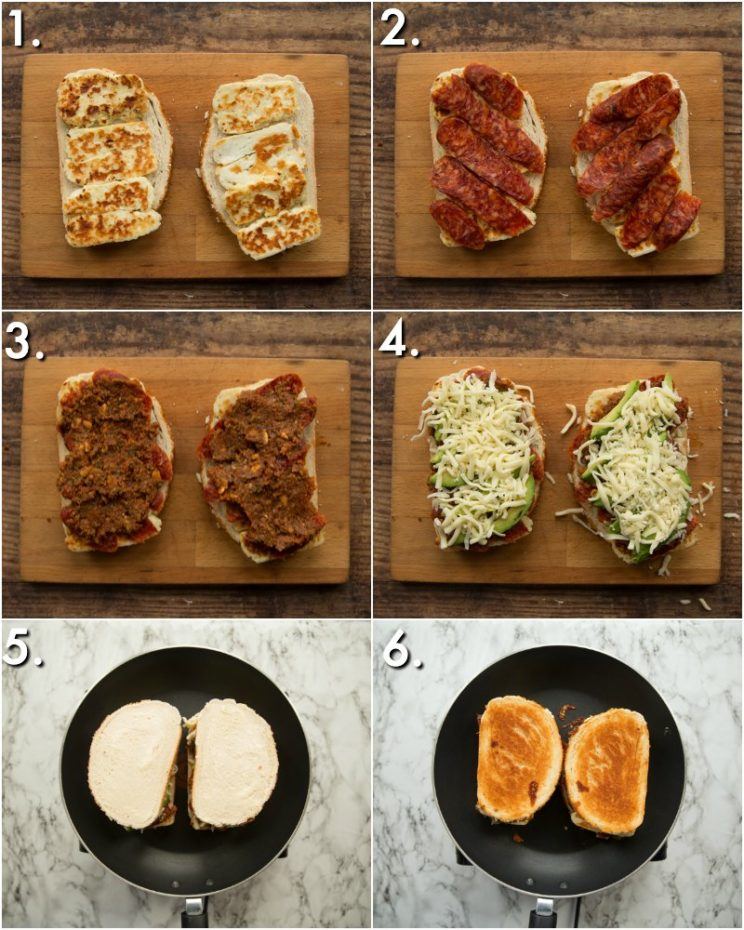 how to make a halloumi sandwich - 6 step by step photos