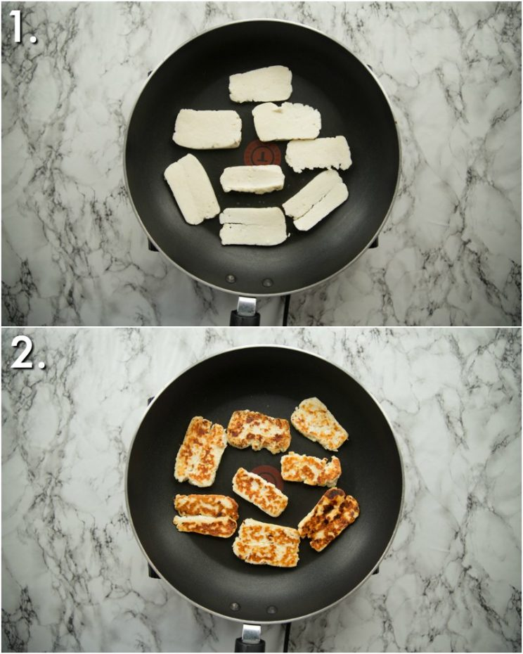 How to pan fry halloumi - 2 step by step photos