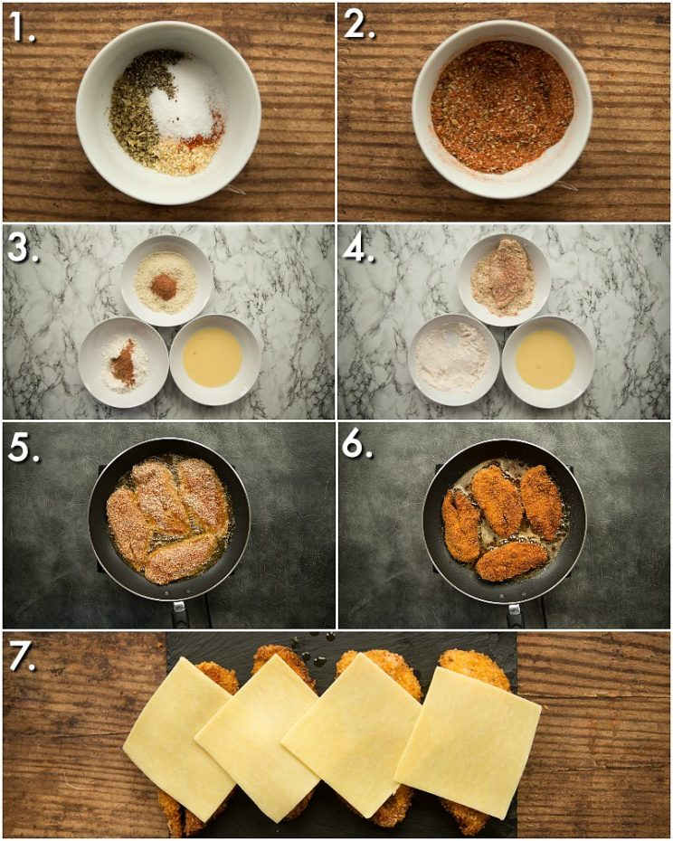 How to shallow fry chicken for crispy chicken wraps - 7 step by step photos
