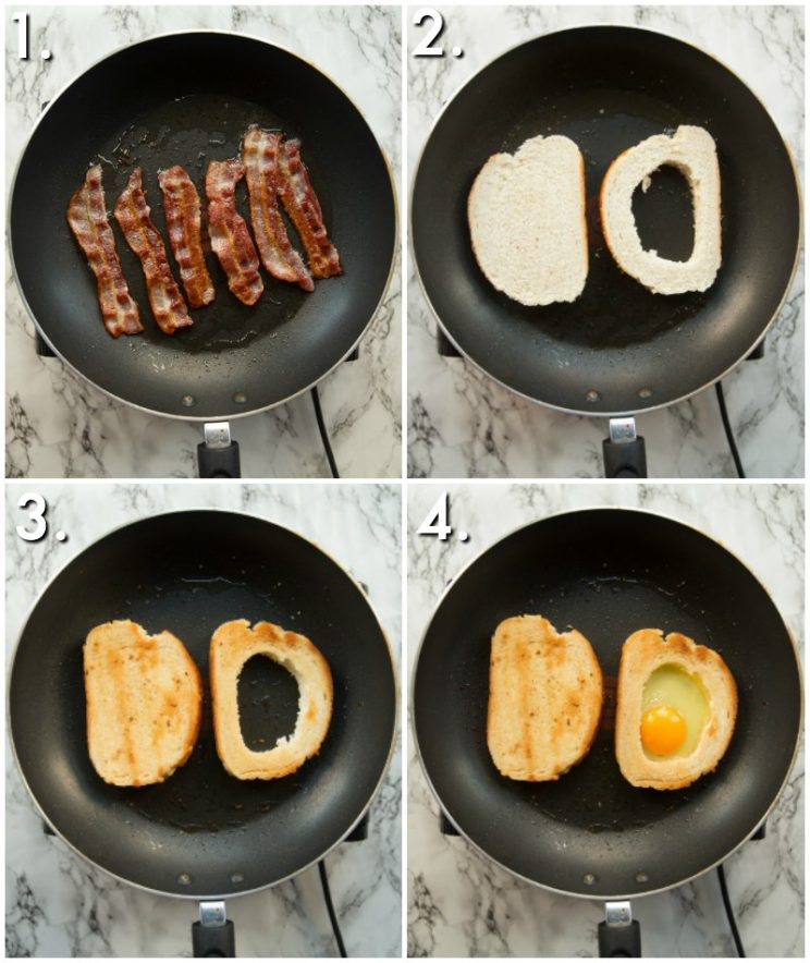 How to make egg in a hole toast - 4 step by step photos