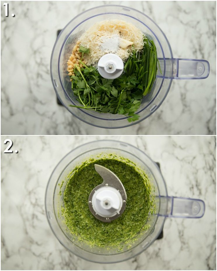 How to make chive and parsley pesto - 2 step by step photos