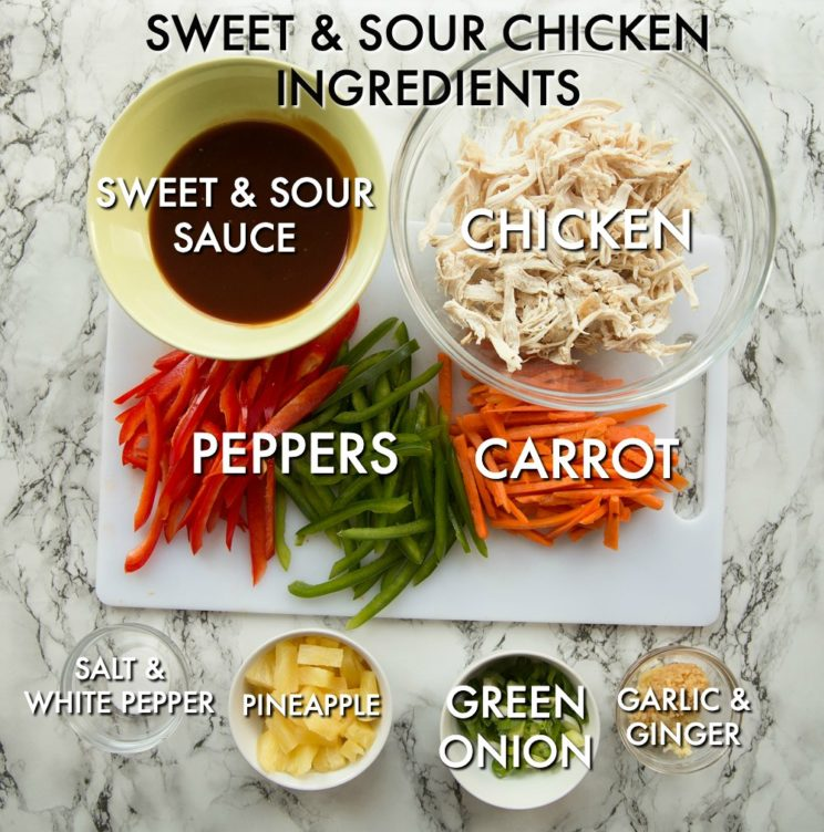 overhead shot of labelled Sweet and Sour Chicken Ingredients