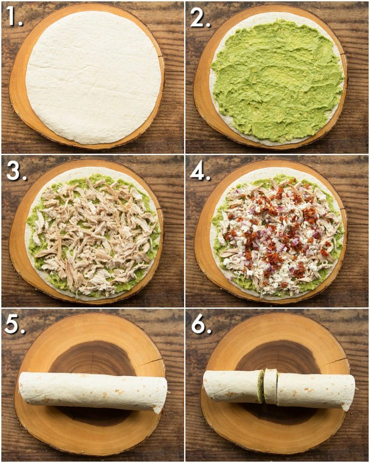 How to make avocado chicken roll ups - 6 step by step photos