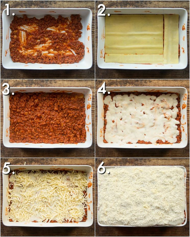 How to layer sausage lasagne - 6 step by step photos