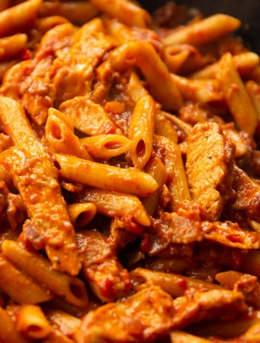closeup shot of pasta in skillet