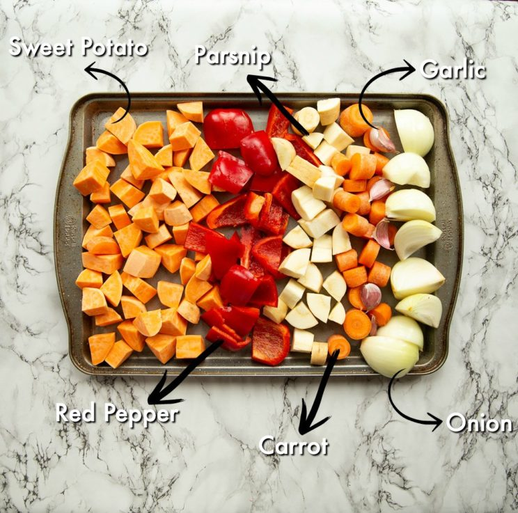 vegetables on tray ready to roast with labels