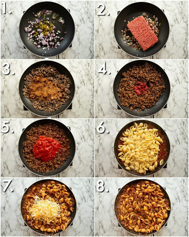 How to make cheesy taco pasta - 8 step by step photos